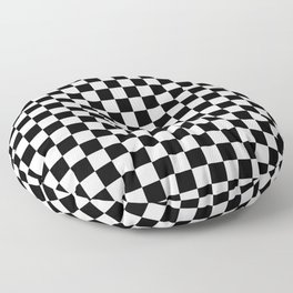 Black Checkerboard Pattern Floor Pillow