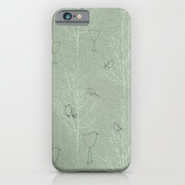 Cute Little Line Art Birds in White Trees - Sage Green iPhone Case