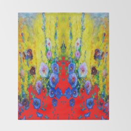 BLUE HOLLYHOCKS YELLOW & RED GARDEN MODERN ART Throw Blanket