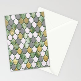 Oceanic Green Pink Gold Mermaid Scales FHLVLB SD Stationery Cards