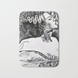 The Bride in Pen and Ink Bath Mat
