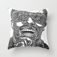 stevie nicks Throw Pillows featuring Stevie Wonder by Travis Poston