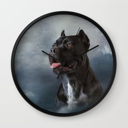Drawing oil painting dog breed Cane Corso Wall Clock