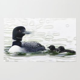 Northern Loon Mother with 2 chicks Rug