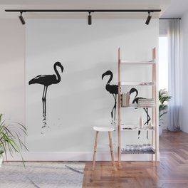 We Are The Three Flamingos Silhouette In Black Wall Mural