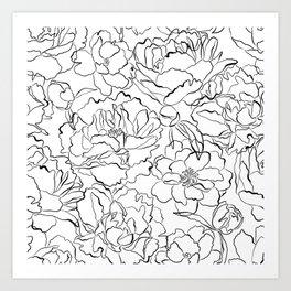 Peony Garden Hand Drawn Flowers Art Print