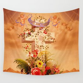 Faith Hope Charity - Christian Cross Wall Tapestry