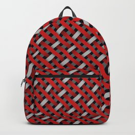 Red and White Diagonal Weave Backpack