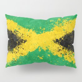 Jamaica Flag - Messy Action Painting Pillow Sham