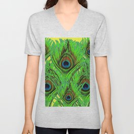 YELLOW-GREEN PEACOCK FEATHERS ABSTRACT ART Unisex V-Neck