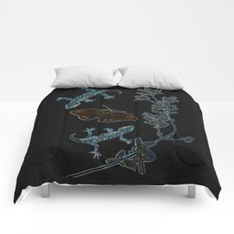 Butterfly With Geckos Comforters