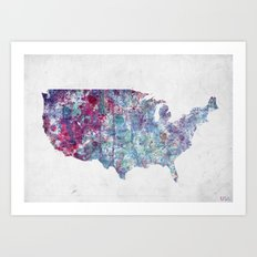 USA map Art Print