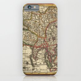 Vintage Map Print - 1630 map of Asia by Mercator & Hondius iPhone Case
