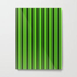 Bright Green and Black Vertical Var Size Stripes Metal Print