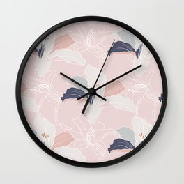 Tropical Pastel Blush Modern Floral Wall Clock