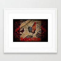 rooster Framed Art Prints featuring Rooster by Justin Alan Casey