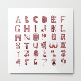 MACHINE LETTERS - red color Metal Print
