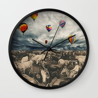 balloons Wall Clocks featuring Balloons by Mrs Araneae