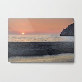 Last Minute At The Beach. At Sunset Metal Print