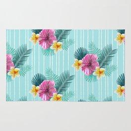 Cool blue base pink floral texture Rug