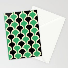 Classic Fan or Scallop Pattern 447 Black and Green Stationery Cards