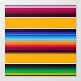 Traditional Mexican Serape in Yellow Multi Canvas Print