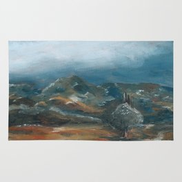 Storm brewing over rural landscape Rug