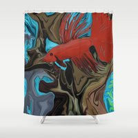 band Shower Curtains featuring Betta's Band by Distortion Art