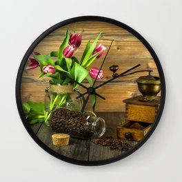 Coffee Grinder plus Jar of Beans and Tulips Wall Clock