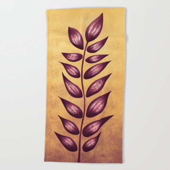 Abstract Plant With Purple Leaves Beach Towel