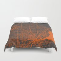 detroit Duvet Covers featuring Detroit map by Map Map Maps