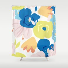 Painterly Blooms Shower Curtain