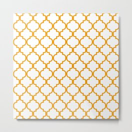 Moroccan Trellis (Orange & White Pattern) Metal Print