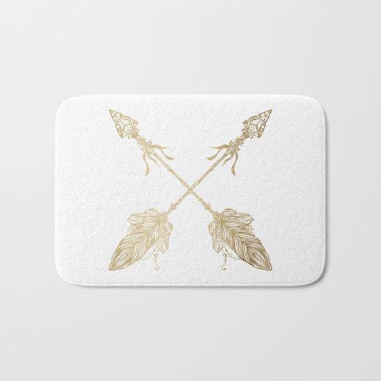 Tribal Arrows Gold on White Bath Mat