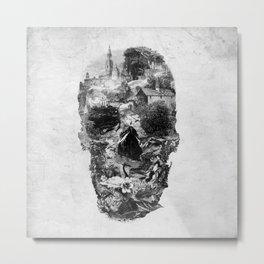 Town Skull B&W Metal Print