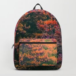 autumn tree in the forest with purple and brown leaf Backpack