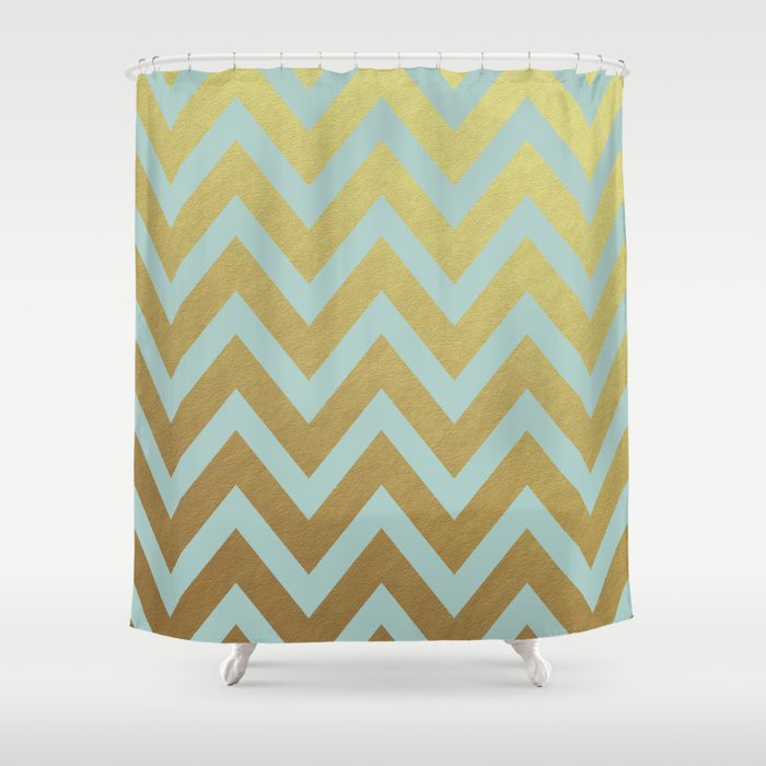 Robins Egg Blue And Gold Chevron Shower Curtain By Herart