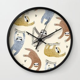 Sloths with love Wall Clock