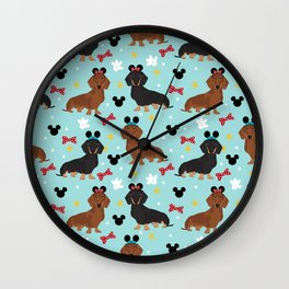 Dachshund theme park dog - black and tan and red doxies Wall Clock