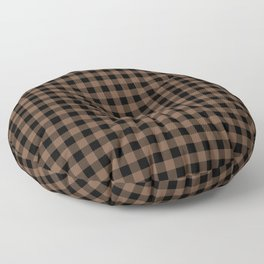 Classic Brown Coffee Country Cottage Summer Buffalo Plaid Floor Pillow