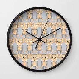 Super cute animals - Cheeky Grey Silver Monkey Wall Clock