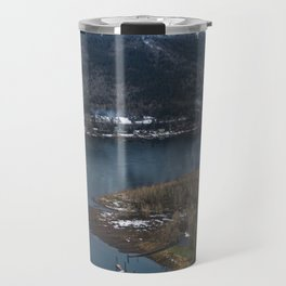 Dock in the Columbia River Gorge Travel Mug