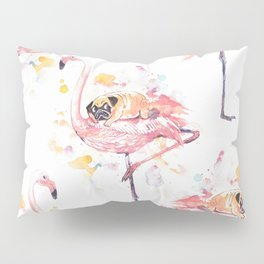 Flamingo and Pug Watercolor Pillow Sham