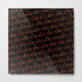 Glasses & Lightning Bolt - Gryffindor Red Metal Print