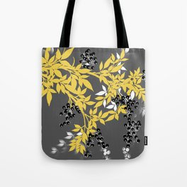 TREE BRANCHES YELLOW GRAY  AND BLACK LEAVES AND BERRIES Tote Bag