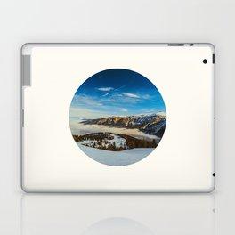Mid Century Modern Round Circle Photo Rolling Snow Hills Distant Mountains Laptop & iPad Skin
