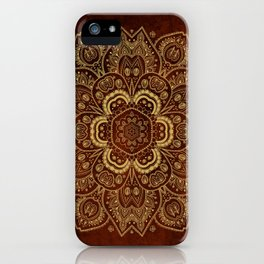 Gold Flower Mandala on Red Textured Background iPhone Case