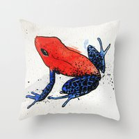 frog Throw Pillows featuring Frog by Jacob Haynes
