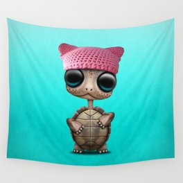 Cute Baby Turtle Wearing Pussy Hat Wall Tapestry