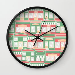 Pattern with colorful houses Wall Clock